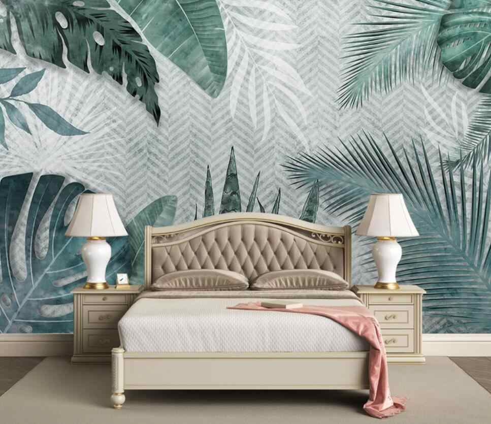 Nordic contracted hand - painted tropical leaves small fresh bedroom  background wall decoration wallpaper murals