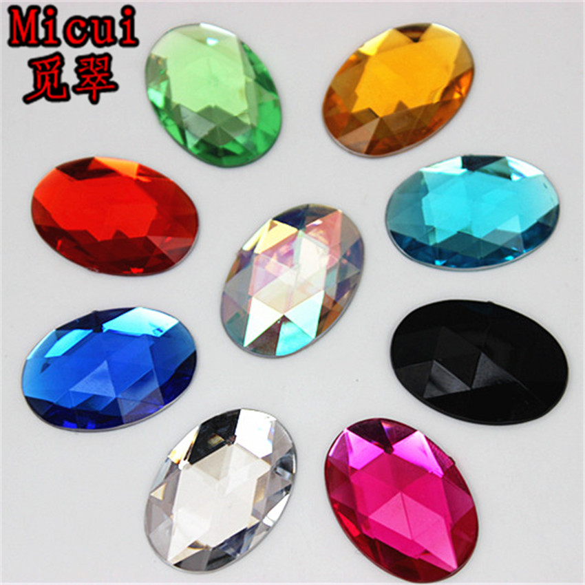 Micui 100PCS 18 25mm Oval Acrylic Rhinestones Flatback Crystals Stones For  Clothes Dress Decorations Jewelry Accessories ZZ137-in Rhinestones from  Home ... 95e72092af03