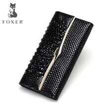 FOXER бренд Модные женские туфли Настоящая кожа кошелек женский клатч дамы кошелек Роскошные Бумажники для Для женщин