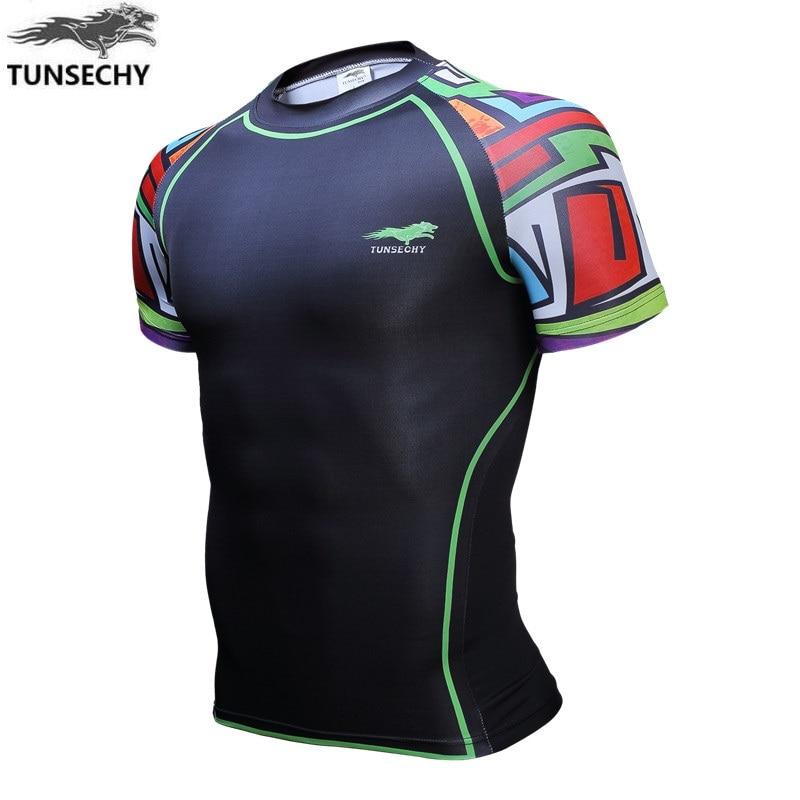 Popular fashion brand men's digital printing round collar short sleeve T-shirt elastic compression T-shirts wholesale and retail