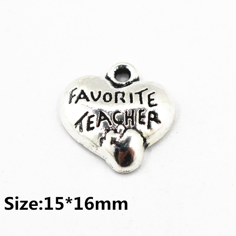 20pcs/lot favourite teacher heart pendant lobster clasp dangle charms for floating lockets charms bracelet diy fashion jewelry
