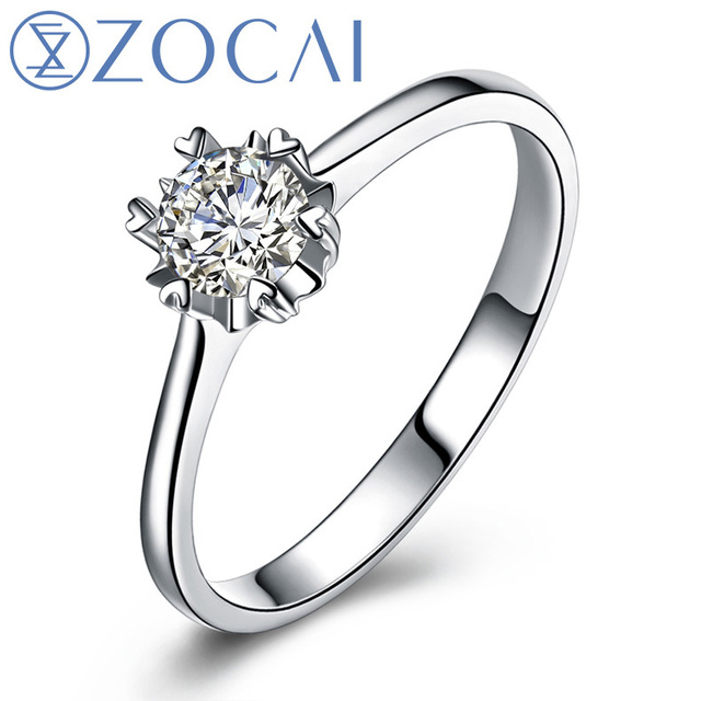 ZOCAI PURE LOVE 0.13 CT CERTIFIED I-J / SI  ROUND CUT 18K WHITE GOLD DIAMOND ENGAGEMENT RING