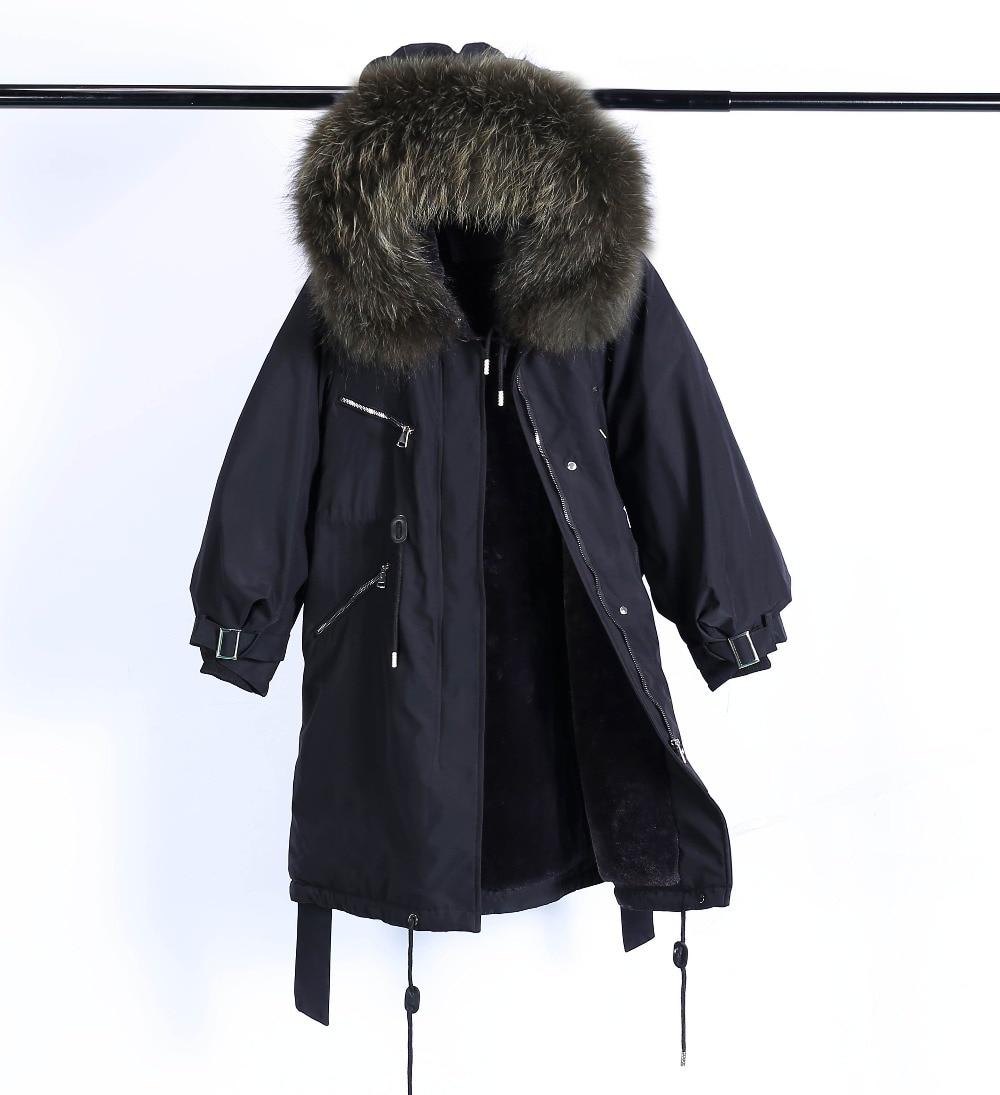 Large Natural Raccoon Fur Winter Jacket Women Hooded 19 Long Parkas For Female Thick Slim Down Winter Coat Women Waterproof 32