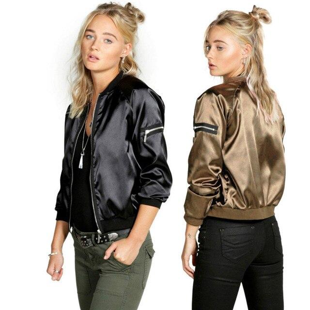 Sexy Black Silver Zipper Satin Bomber Jacket Women Basic