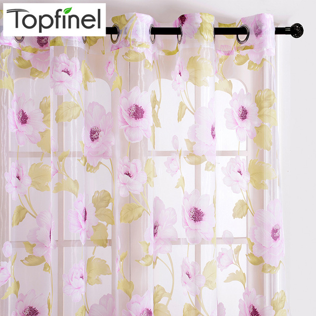 Beautiful Pink Floral Sheer Curtains For Living Room Bedroom Elegant Modern Living  Room Curtains Window Tulle Voile