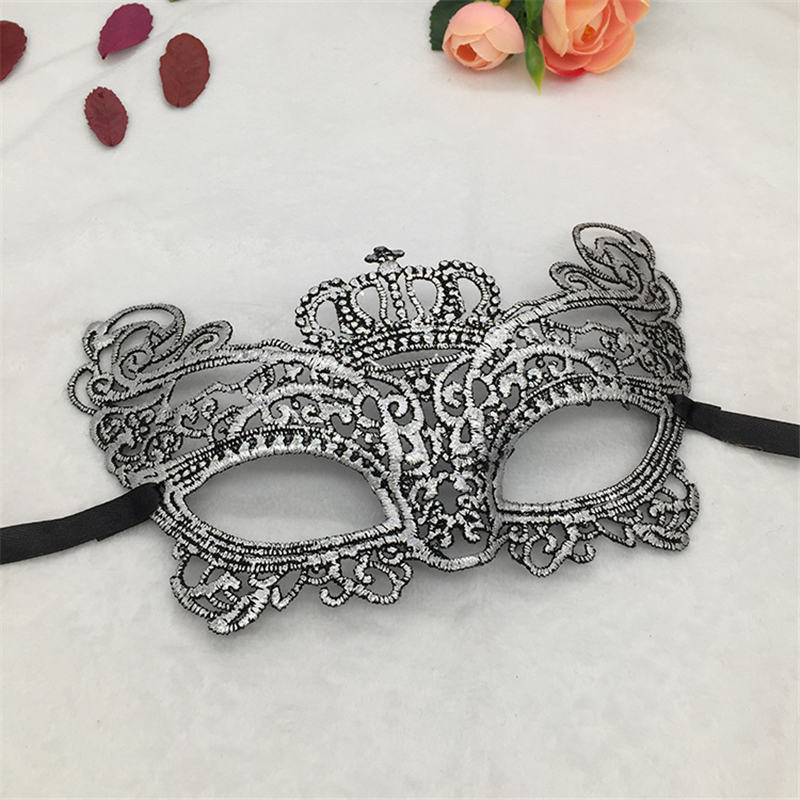 Серебряная горячая штамповка Дамская Сексуальная Маскарадная маска из кружева для карнавала, Хэллоуина, выпускного вечера, Вечерние Маски, маска для глаз#35 - Цвет: PM015TS