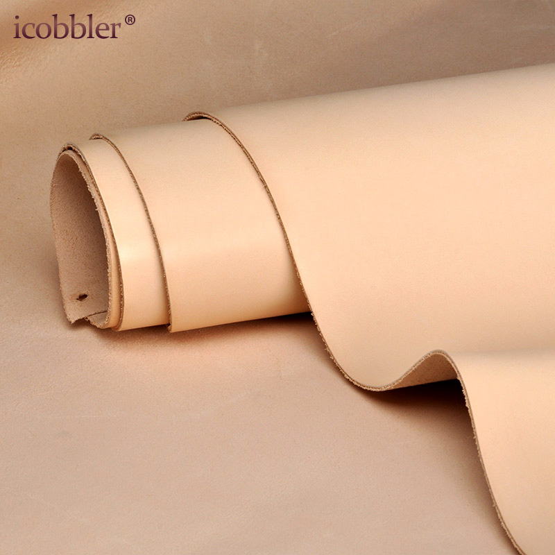 Natural Leather Vegetable Tanned Material, Real Thick Genuine Cowskin Brown Skin for Wallet Belt Shoes Making DIY Craft Sewing image