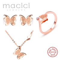 Bridal Jewelry Sets 100% 925 Sterling Silver Wedding Jewelry Butterfly Shaped Earrings Necklace Ring Women Best Gift DS010