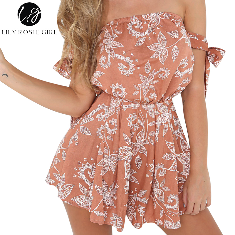 Lily Rosie Girl Off Shoulder Boho Floral Print Playsuits Women Summer Beach Sexy Backless Short Rompers