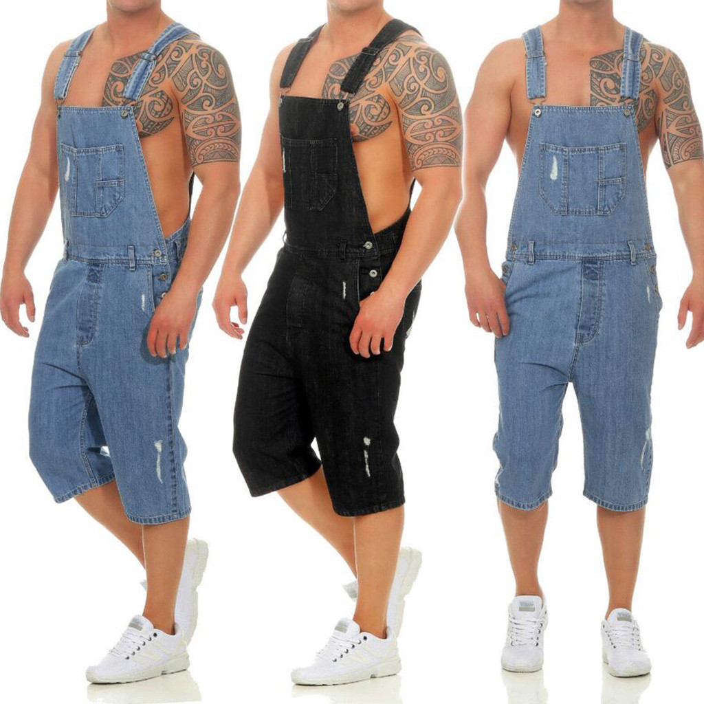 Cargo Broek Mannen Totale Toevallige Jumpsuit Jeans Wassen Gebroken Pocket Broek Jarretel Broek Biker Stretch Jeans Vaqueros Pantalon