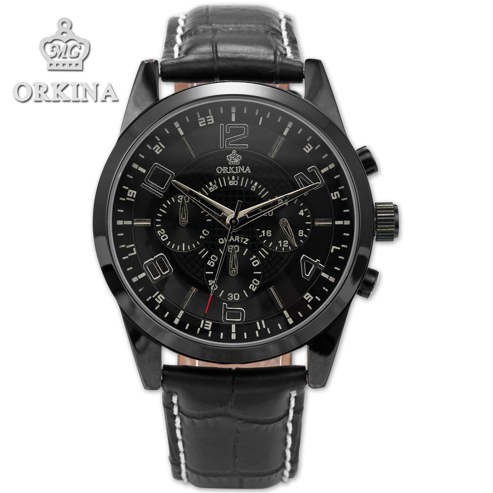 Orkina Clock 2016 New Luxury Herren Armbanduhr Quarzuhr Armband aus Leder Datumanzeige Cool Horloges orkina relojes 2016 new clock mens watches top brand luxury herren cool watche for men with gift box montres