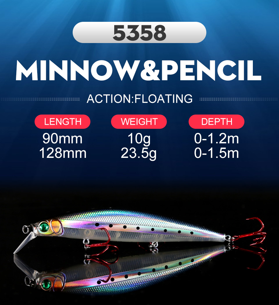 Kingdom Fishing lures 10g90mm 23.5g128mm Floating Minnow and Pencil Switchable Lilps artificial baits for sea bass wobblers 5358 (1)