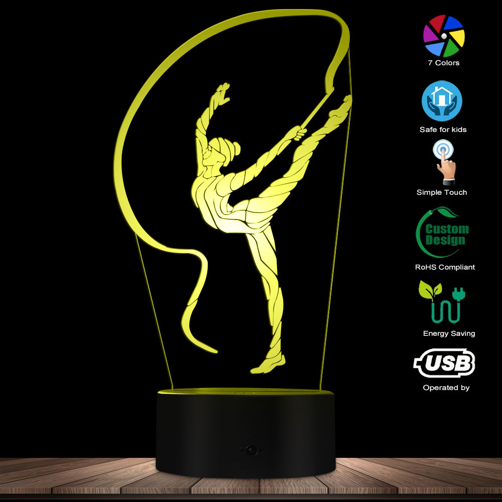 Rhythmic Gymnastic 3D Optical Illusion Night Lamp Gymnastics Ribbon Dancer Gymnastics Girl LED Night Light Decorative Table Lamp