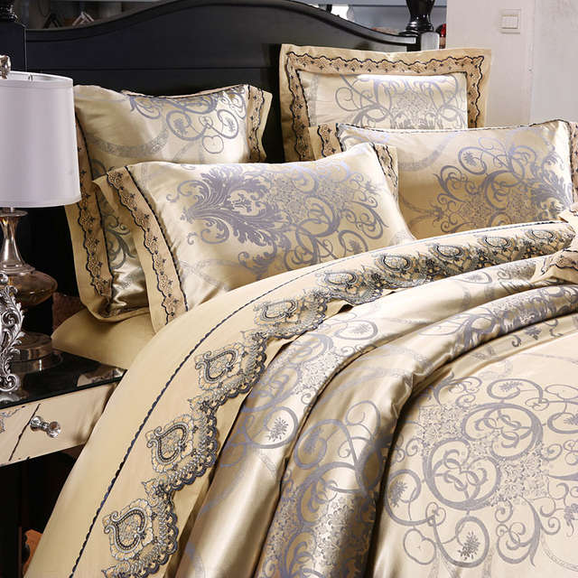 placeholder stain silk jacquard cotton lace bedding set luxury king queen size bedsheet set duvet cover fit