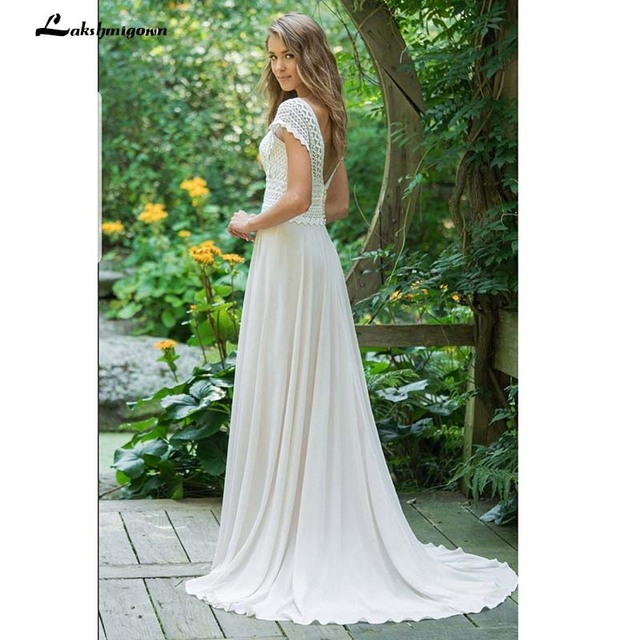 Sexy V Neck Chiffon Beach Wedding Dresses 2021 Lace Court Train Bridal Gowns Plus Size vestido de bodas Open Back vestido 2