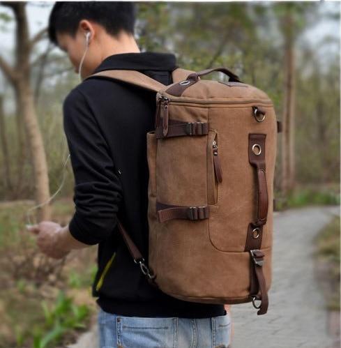OFTEN Unisex Vintage Canvas Leather Hiking Travel Backpack Messenger Tote Bag