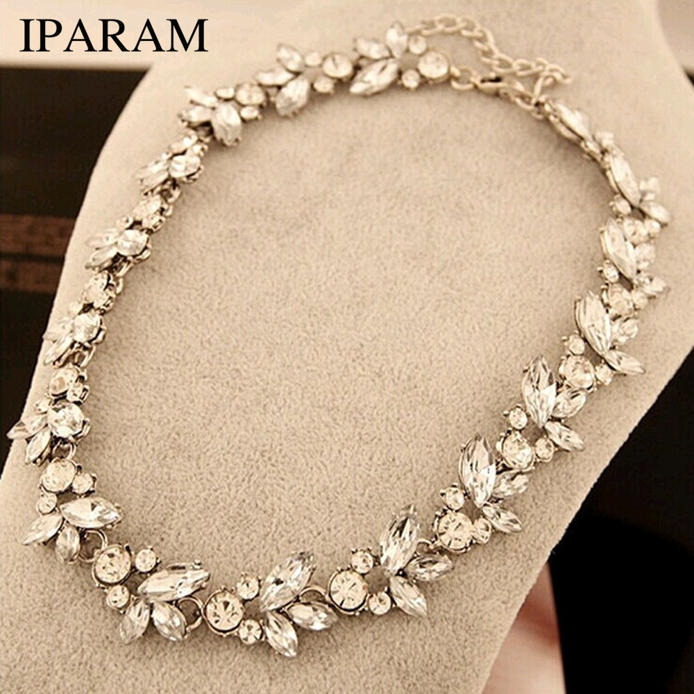 2019 New wholesale Hot Women Accessories Bohemia Style Luxury Crystal Flower Choker Bib Statement Necklace For Wedding Party-in Chain Necklaces from Jewelry & Accessories on AliExpress