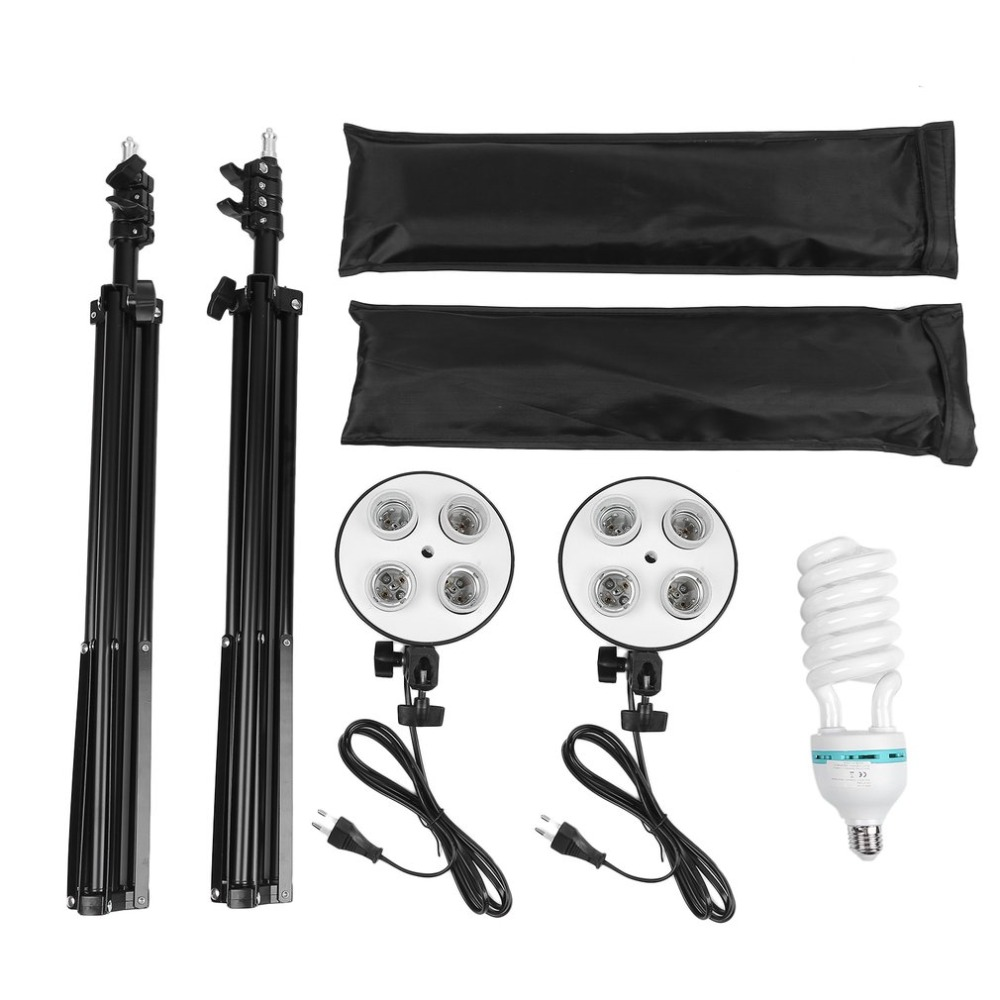 2 Sets Photography Lighting Kit Universal Softbox photo backdrops Professional Light Stand Set For Portraits Video Shooting photography photo video continuous lighting kit 2x3m background support light stand with green black white 2x3 muslin backdrops