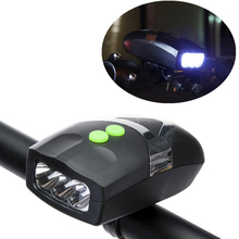 Ultra Bright 3 LED Bike Bicycle Light Universal  White Front Head Light Lamp with Cycling Electronic Bell Horn Hooter Siren