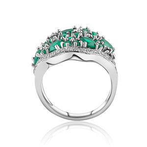 Image 4 - GEMS BALLET 14.31Ct Natural Green Agate Vintage Jewelry Sets Pure 925 Sterling Silver Gemstone Earrings Ring Set For Women Fine