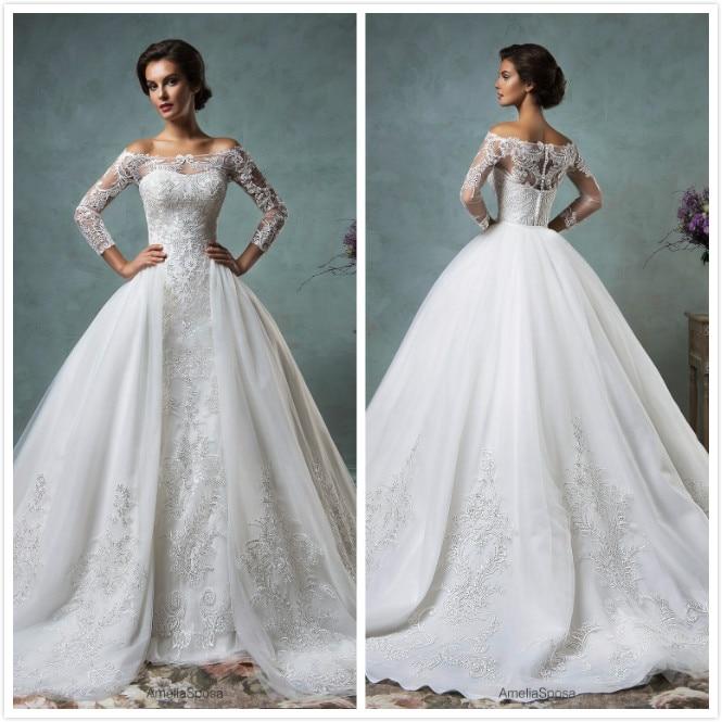 Sapphire Bridal Vintage Wedding Dress 3 4 Sleeve White: 2017 New Gorgeous New Princess Wedding Dresses Boat Neck 3