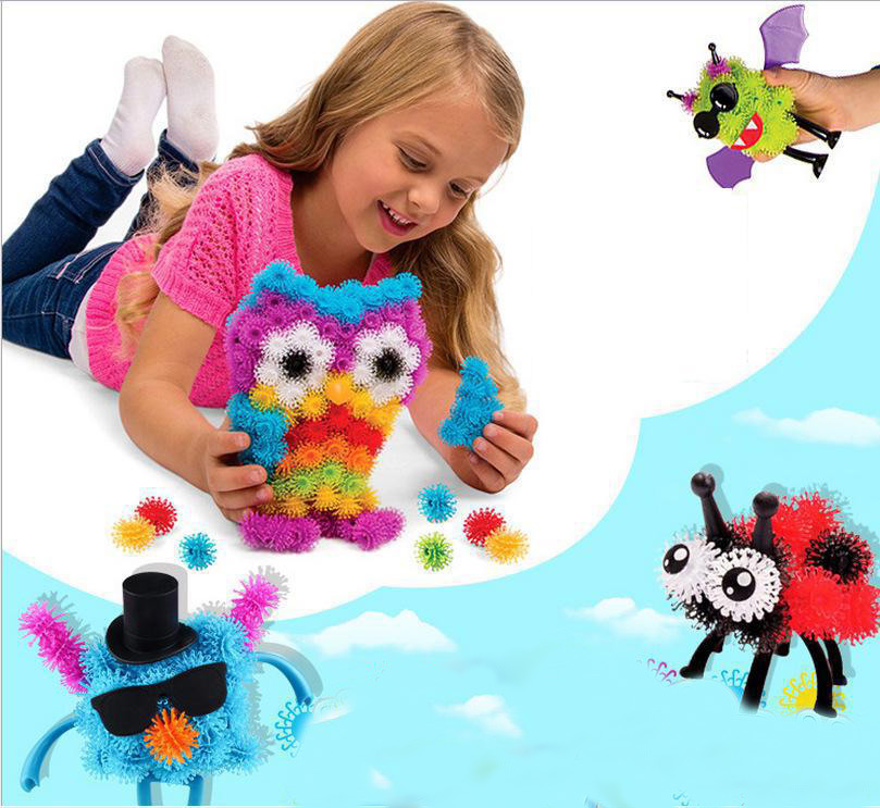 150pcs/pack Puff Squeezed Ball Thorn Ball Clusters Handcraft Building Block Construction Toy Set Kids Art Craft Diy Sticky Toy