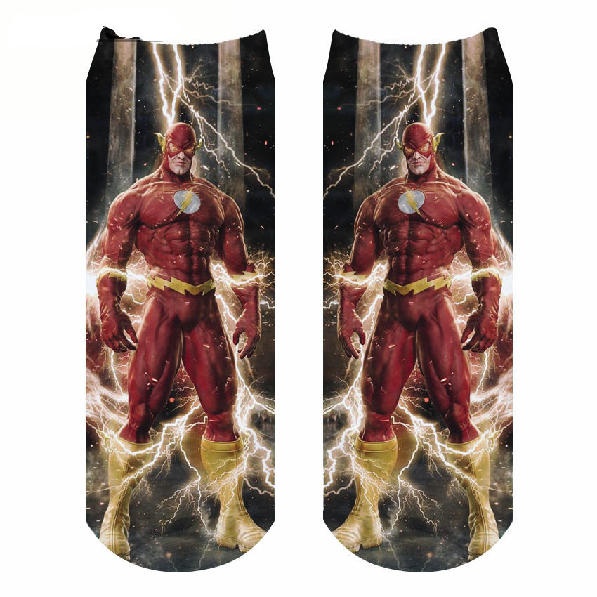 3D Digital Printing Super Hero Flash Socks Hot-sell Individualistic Printing Crew Socks Cotton Sports socks