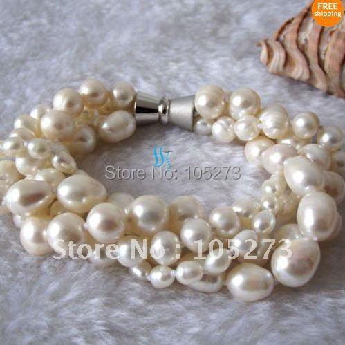 Потрясающий! жемчужный браслет 4 ряда белого цвета, натуральный пресноводный жемчуг AA 3-10 мм, Белая магнитная застежка, Женские Ювелирные изделия, N198
