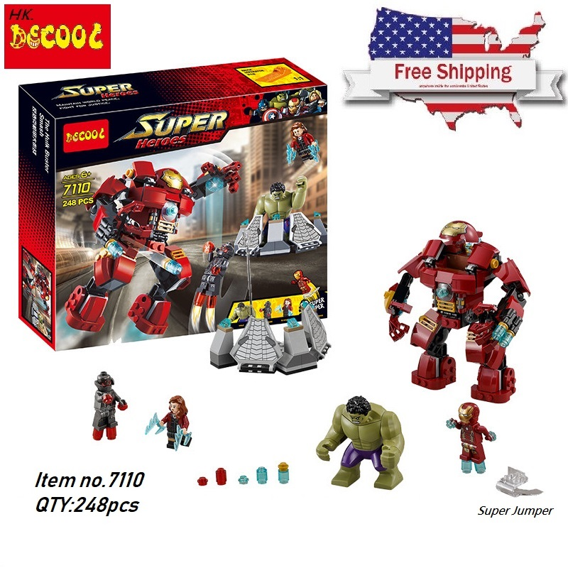 все цены на Decool 248pcs Hulkbuster Building Blocks Bricks Toys FIT for lego Marvel Super Heroes 76031 Avengers Iron Hulk for minifigure