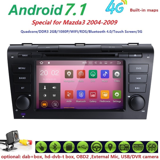 New Android 7.1 2GB Ram Car GPS Navigation for Mazda3 Car Stereo for