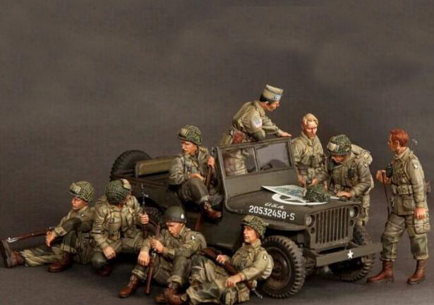 1/35 <font><b>Resin</b></font> Kits WWII US 101 Airborne Division 9pcs/set Not assembled Uncolored image