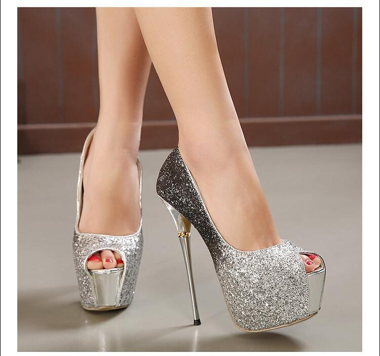Trendy Classic Sexy Glittering Peep High Heel Shoes Cheap Sexy ...