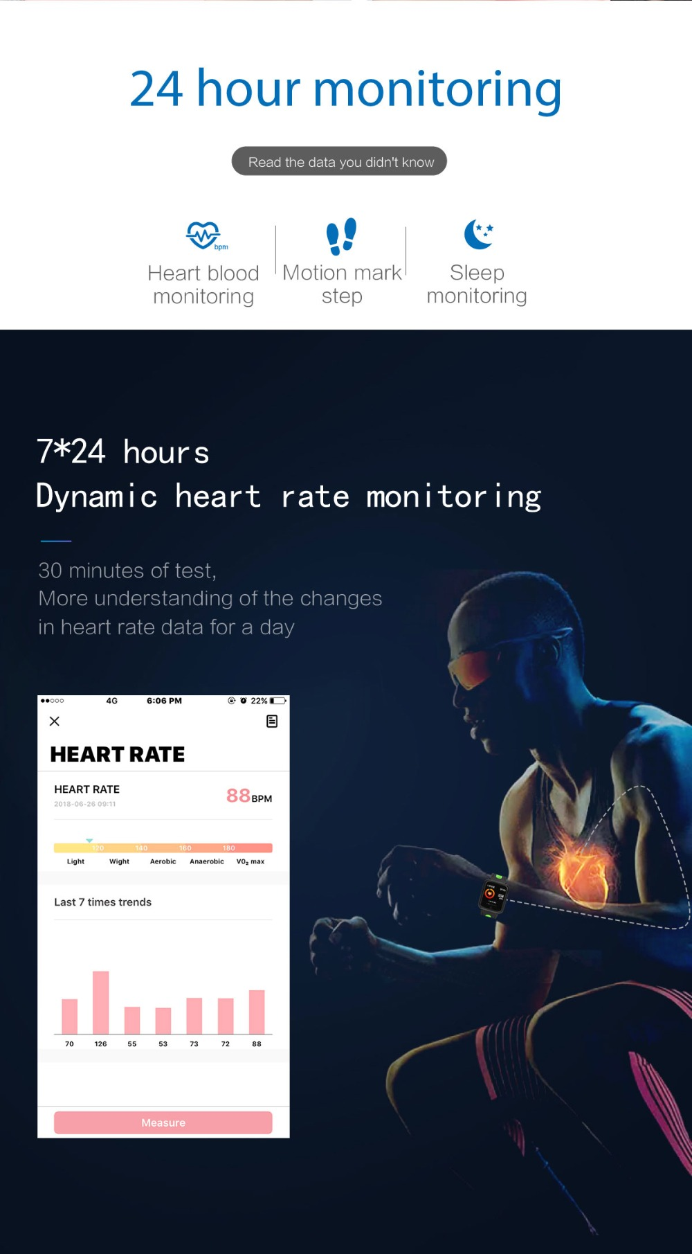 Smart Watch P68 Sports IP68 fitness bracelet activity tracker heart rate monitor blood pressure for ios Android apple iPhone 6 7 8