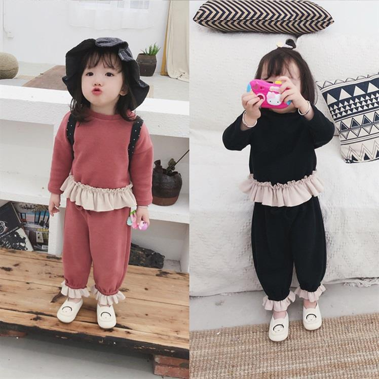 Autumn Winter New Girls Thick Korean Ruffle Sweater+pants Casual Suit Kids Long Sleeve Pullovers Girl Set Baby O-neck Sweatshirt grey casual loose round neck sweatshirt