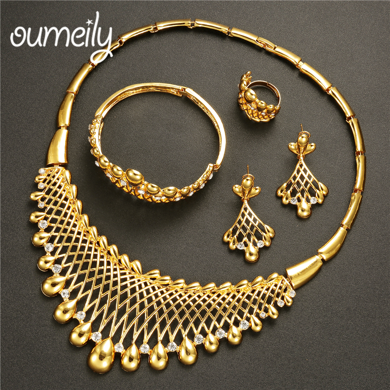 OUMEILY Turkish Jewelry Gold Color Jewellery Set For Bridesmaid