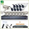 POE Sistema de Segurança CCTV Ao Ar Livre com 2 16CH 1080 p SATA NVR, pcs 720 p HD Vandalpoof 16 POE Câmeras Ao Ar Livre e 16ch PoE Switch