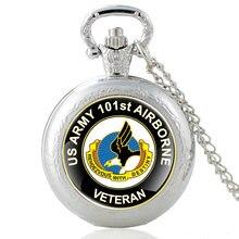 4161793de48 Exército DOS EUA 101st Airborne Veterano da Força Aérea de Quartzo Relógio  de Bolso Do Vintage Colar Relógios