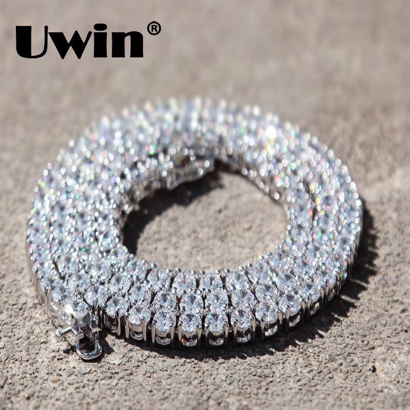 Uwin 1 Row 5mm CZ Tennis Chain Full Iced Out Zirconia Luxury Necklace 18
