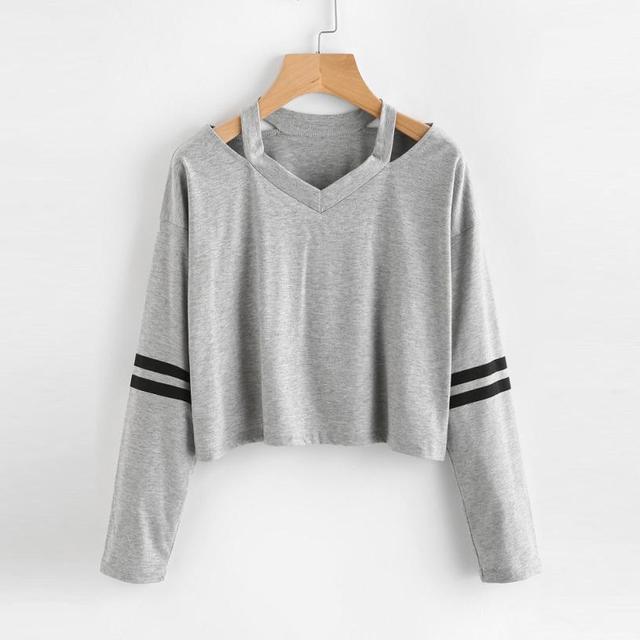 Blusa de las mujeres Camisetas de Algodón A Rayas Ahueca
