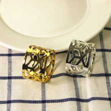 14PCS stainless steel gold / silver napkin ring wedding supplies geometric buckle