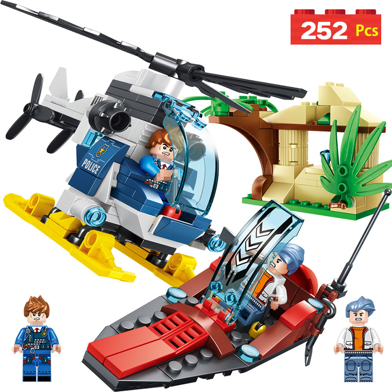 Police Series Blocks Compatible LegoINGLYS City Helicopter Jungle Hunting Mini Action Figures Bricks Enlightening Toys For Boys