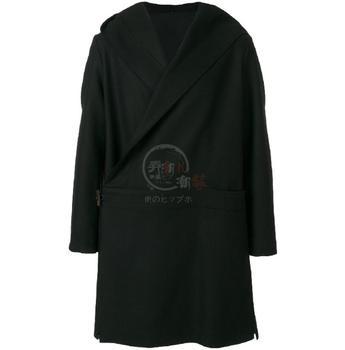 ¡Personalizar La Nueva Llegada De Los Hombres Slant Acceso Abrigo De Lana Con Capucha Negro Suelto Simple Rompevientos Masculino Casual Gabardina! S-5XL