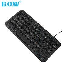 B.O.W 78 ключ проводной USB мини тонкая клавиатура для ПК, компьютера, ноутбука, ноутбука, нетбука, Windows 8 7 XP Vista, черный