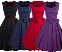 Vintage Swing dresses 50s 60 style square collar Women Retro Casual bow Party Rockabilly Dress Femininos size s 2xl
