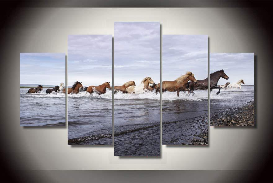 framed printed horses across the river painting on canvas room decoration print poster picture canvas free shipping rr1452