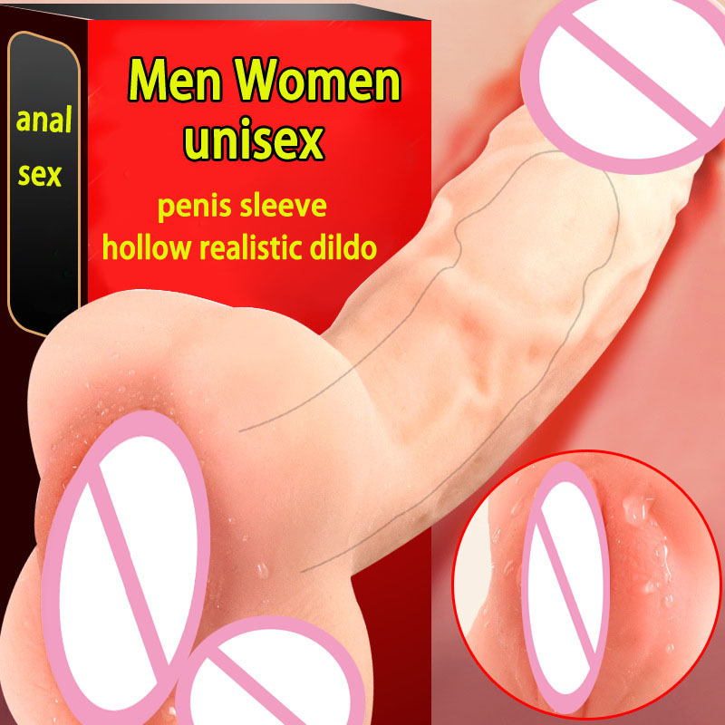 Soft Realistic <font><b>Dildo</b></font> Anal Sex Penis Extender Sleeve Gay Masturbator Pocket Pussy Hollow <font><b>Dildos</b></font> <font><b>Unisex</b></font> Sex Toys For Men Women image