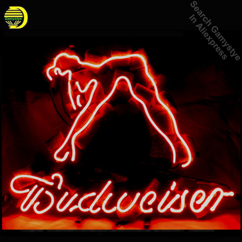 NEON SIGN For BUDWEISER GIRL Signboard REAL GLASS BEER BAR PUB display christmas Light Signs 17*14 Handcrafted Real Glass Tube
