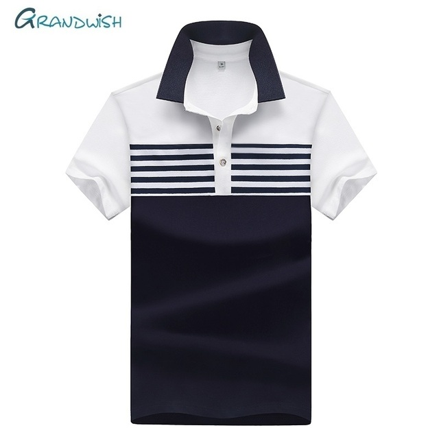 e915f0ee4807c Grandwish New Casual Men s Polo Shirt Mens Short Sleeve Shirts Men s Brand Clothing  Male Striped Boys Polos Plus Size 4XL