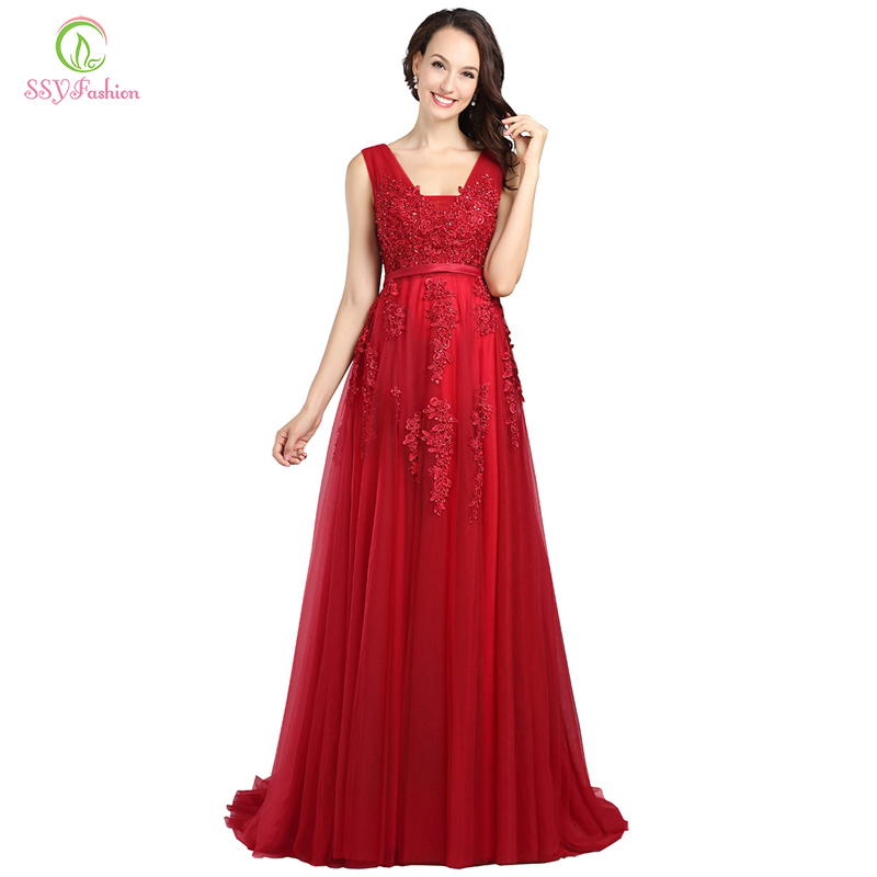 Ssyfashion Lace Appliques V Neck Long Evening Dress The Bride Sexy