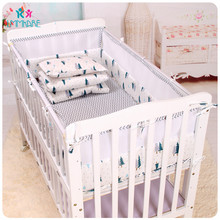 Cotton Crib Baby Bedding Sets Cotton Breathable Mesh Bed Baby Bumpers in Spring Summer Include Bed Bumpers/Sheetz cotton soft baby bed crib bumper include pillow bumpers sheet quilt cover newborn bed bumpers baby bedding sets gray stars